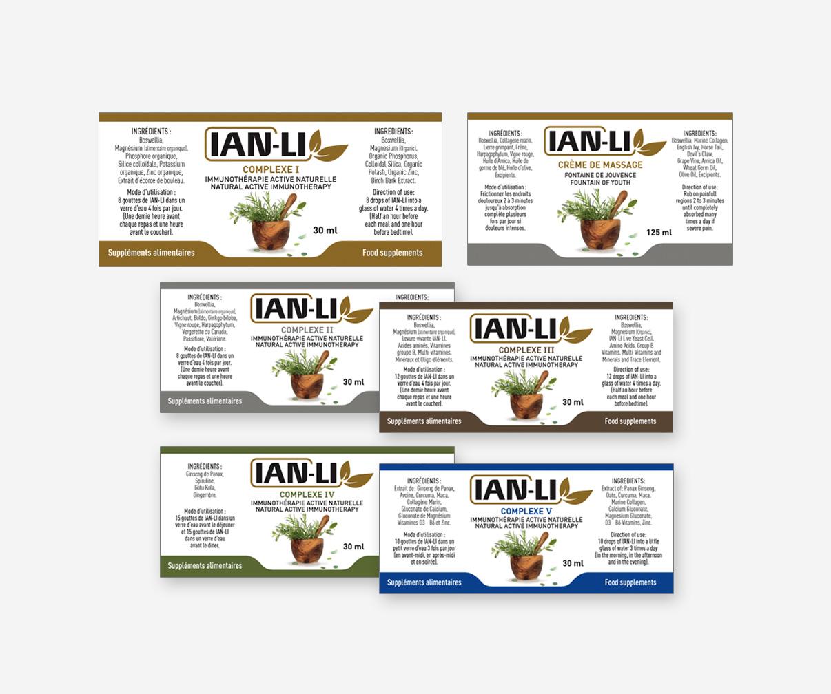 Produits naturels Ian-Li - Étiquettes de produits